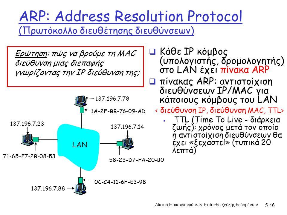 5-46 ARP: Address Resolution Protocol (Πρωτόκολλο διευθέτησης διευθύνσεων)  Κάθε IP κόμβος (υπολογιστής, δρομολογητής) στο LAN έχει πίνακα ARP  πίνακας ARP: αντιστοίχιση διευθύνσεων IP/MAC για κάποιους κόμβους του LAN  TTL (Time To Live - διάρκεια ζωής): χρόνος μετά τον οποίο η αντιστοίχιση διευθύνσεων θα έχει «ξεχαστεί» (τυπικά 20 λεπτά) Ερώτηση: πώς να βρούμε τη MAC διεύθυνση μιας διεπαφής γνωρίζοντας την IP διεύθυνση της; 1A-2F-BB-76-09-AD 58-23-D7-FA-20-B0 0C-C4-11-6F-E3-98 71-65-F7-2B-08-53 LAN 137.196.7.23 137.196.7.78 137.196.7.14 137.196.7.88 Δίκτυα Επικοινωνιών- 5: Επίπεδο ζεύξης δεδομένων