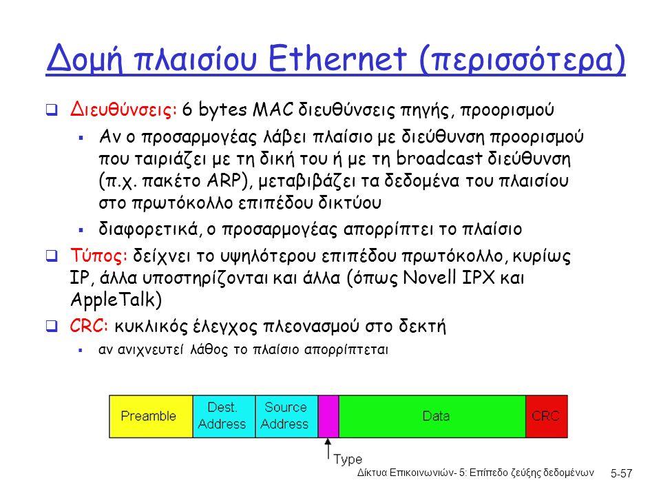 5-57 Δομή πλαισίου Ethernet (περισσότερα)  Διευθύνσεις: 6 bytes MAC διευθύνσεις πηγής, προορισμού  Αν ο προσαρμογέας λάβει πλαίσιο με διεύθυνση προορισμού που ταιριάζει με τη δική του ή με τη broadcast διεύθυνση (π.χ.