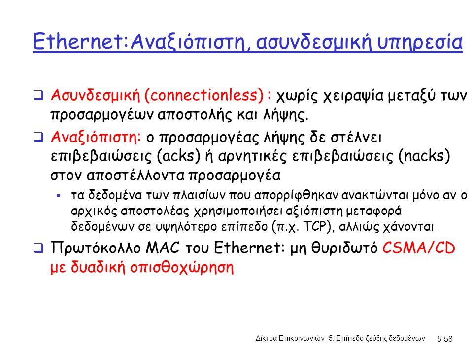 5-58 Ethernet:Αναξιόπιστη, ασυνδεσμική υπηρεσία  Ασυνδεσμική (connectionless) : χωρίς χειραψία μεταξύ των προσαρμογέων αποστολής και λήψης.