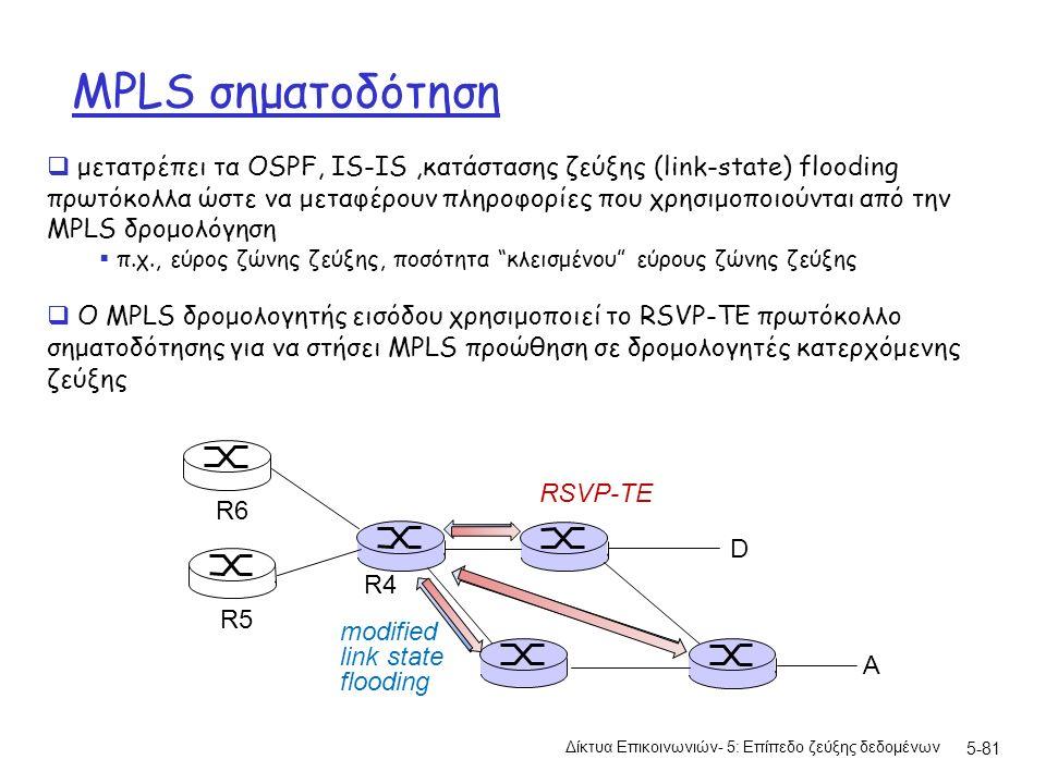 MPLS σηματοδότηση Δίκτυα Επικοινωνιών- 5: Επίπεδο ζεύξης δεδομένων 5-81  μετατρέπει τα OSPF, IS-IS,κατάστασης ζεύξης (link-state) flooding πρωτόκολλα ώστε να μεταφέρουν πληροφορίες που χρησιμοποιούνται από την MPLS δρομολόγηση  π.χ., εύρος ζώνης ζεύξης, ποσότητα κλεισμένου εύρους ζώνης ζεύξης  Ο MPLS δρομολογητής εισόδου χρησιμοποιεί το RSVP-TE πρωτόκολλο σηματοδότησης για να στήσει MPLS προώθηση σε δρομολογητές κατερχόμενης ζεύξης D R4 R5 A R6 modified link state flooding RSVP-TE