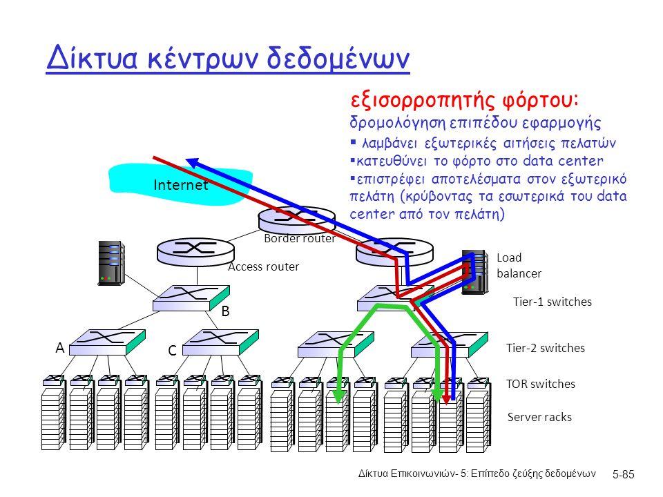 Δίκτυα κέντρων δεδομένων Δίκτυα Επικοινωνιών- 5: Επίπεδο ζεύξης δεδομένων 5-85 Server racks TOR switches Tier-1 switches Tier-2 switches Load balancer B A C Border router Access router Internet εξισορροπητής φόρτου: δρομολόγηση επιπέδου εφαρμογής  λαμβάνει εξωτερικές αιτήσεις πελατών  κατευθύνει το φόρτο στο data center  επιστρέφει αποτελέσματα στον εξωτερικό πελάτη (κρύβοντας τα εσωτερικά του data center από τον πελάτη)
