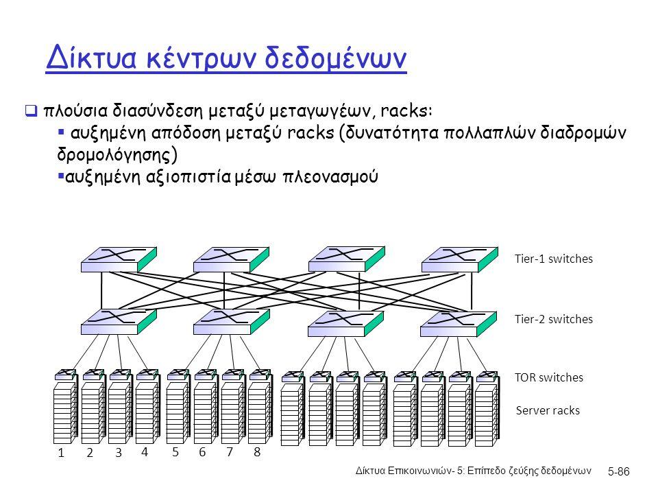 Δίκτυα κέντρων δεδομένων Δίκτυα Επικοινωνιών- 5: Επίπεδο ζεύξης δεδομένων 5-86 Server racks TOR switches Tier-1 switches Tier-2 switches 1 2 3 4 5 6 7 8  πλούσια διασύνδεση μεταξύ μεταγωγέων, racks:  αυξημένη απόδοση μεταξύ racks (δυνατότητα πολλαπλών διαδρομών δρομολόγησης)  αυξημένη αξιοπιστία μέσω πλεονασμού