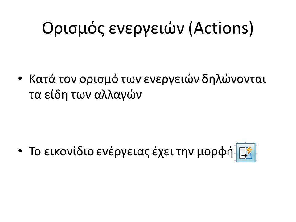 Ορισμός ενεργειών (Actions) Κατά τον ορισμό των ενεργειών δηλώνονται τα είδη των αλλαγών Το εικονίδιο ενέργειας έχει την μορφή