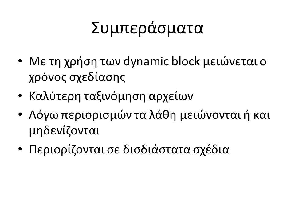 Συμπεράσματα Με τη χρήση των dynamic block μειώνεται ο χρόνος σχεδίασης Καλύτερη ταξινόμηση αρχείων Λόγω περιορισμών τα λάθη μειώνονται ή και μηδενίζονται Περιορίζονται σε δισδιάστατα σχέδια