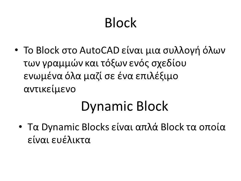 Block Το Block στο AutoCAD είναι μια συλλογή όλων των γραμμών και τόξων ενός σχεδίου ενωμένα όλα μαζί σε ένα επιλέξιμο αντικείμενο Dynamic Block Τα Dynamic Blocks είναι απλά Block τα οποία είναι ευέλικτα