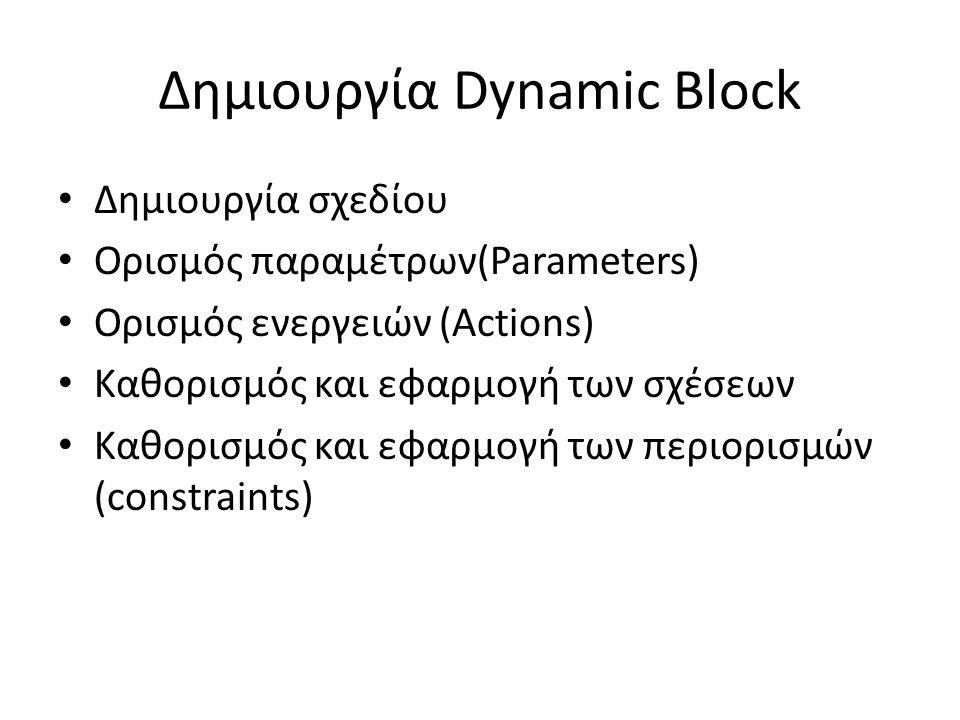 Δημιουργία Dynamic Block Δημιουργία σχεδίου Ορισμός παραμέτρων(Parameters) Ορισμός ενεργειών (Actions) Καθορισμός και εφαρμογή των σχέσεων Καθορισμός και εφαρμογή των περιορισμών (constraints)