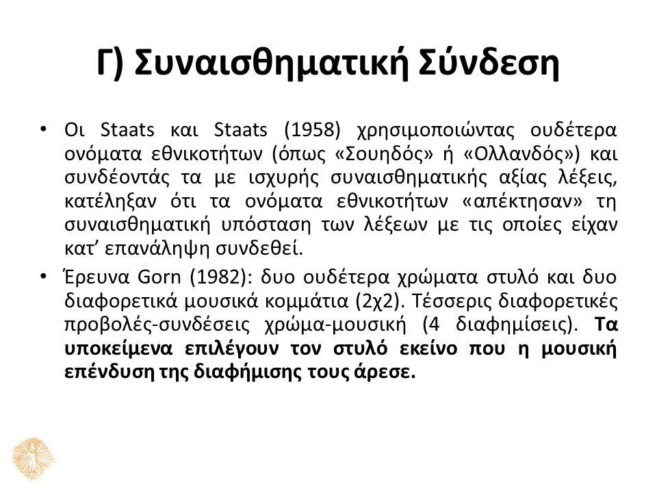 Γ) Συναισθηματική Σύνδεση Οι Staats και Staats (1958) χρησιμοποιώντας ουδέτερα ονόματα εθνικοτήτων (όπως «Σουηδός» ή «Ολλανδός») και συνδέοντάς τα με