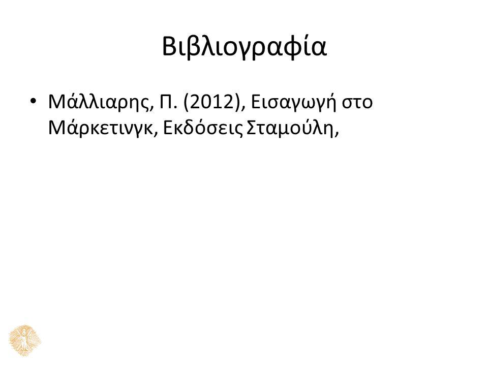 Βιβλιογραφία Μάλλιαρης, Π. (2012), Εισαγωγή στο Μάρκετινγκ, Εκδόσεις Σταμούλη,