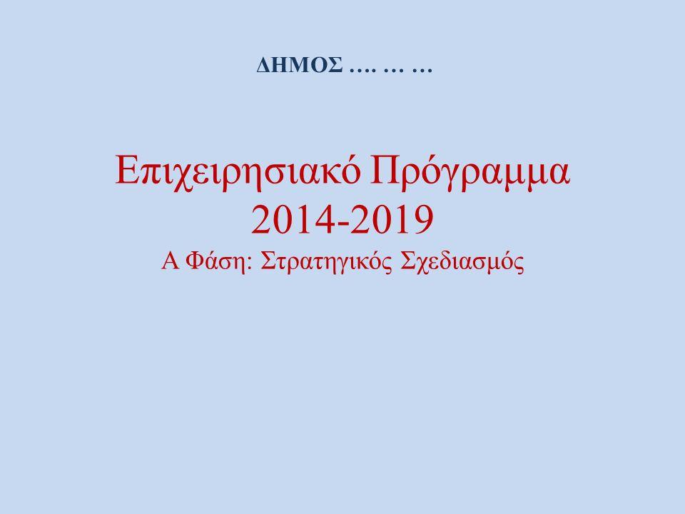 Επιχειρησιακό Πρόγραμμα 2014-2019 Α Φάση: Στρατηγικός Σχεδιασμός ΔΗΜΟΣ …. … …