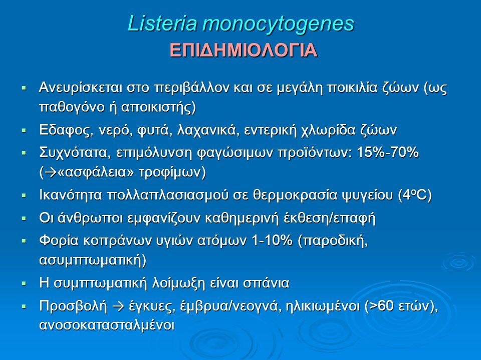 Listeria monocytogenes ΕΠΙΔΗΜΙΟΛΟΓΙΑ  Ανευρίσκεται στο περιβάλλον και σε μεγάλη ποικιλία ζώων (ως παθογόνο ή αποικιστής)  Εδαφος, νερό, φυτά, λαχανικά, εντερική χλωρίδα ζώων  Συχνότατα, επιμόλυνση φαγώσιμων προïόντων: 15%-70% ( → «ασφάλεια» τροφίμων)  Ικανότητα πολλαπλασιασμού σε θερμοκρασία ψυγείου (4 o C)  Οι άνθρωποι εμφανίζουν καθημερινή έκθεση/επαφή  Φορία κοπράνων υγιών ατόμων 1-10% (παροδική, ασυμπτωματική)  Η συμπτωματική λοίμωξη είναι σπάνια  Προσβολή → έγκυες, έμβρυα/νεογνά, ηλικιωμένοι (>60 ετών), ανοσοκατασταλμένοι