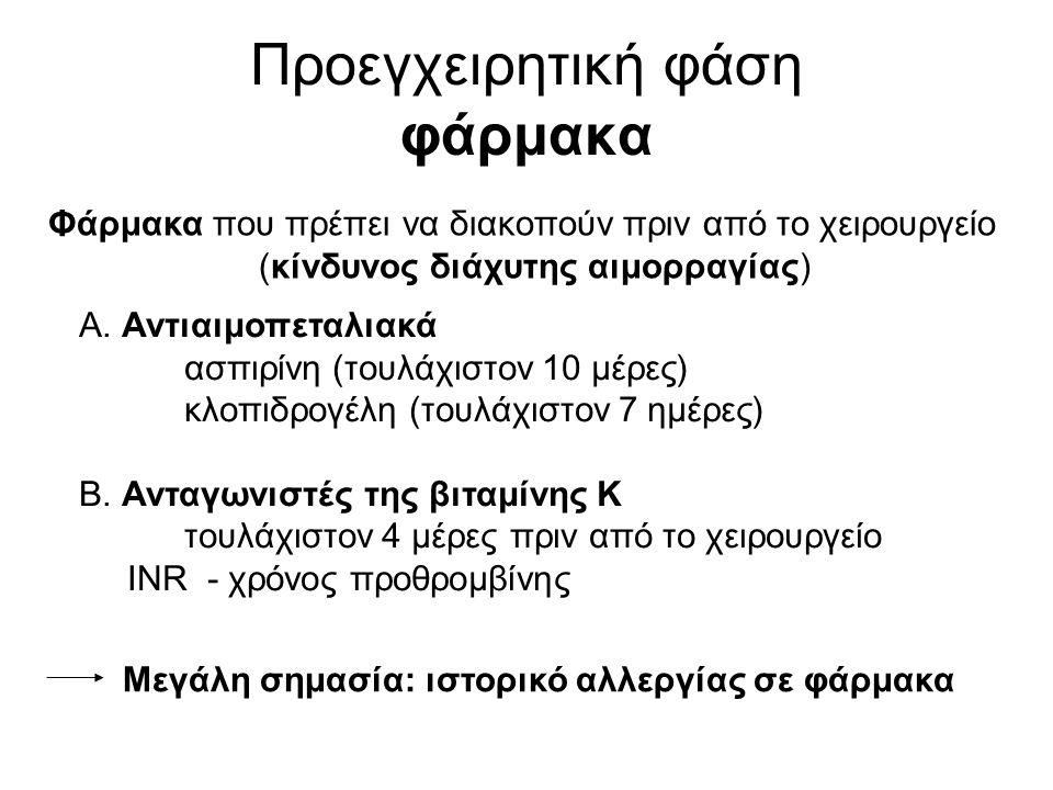 Προεγχειρητική φάση φάρμακα Φάρμακα που πρέπει να διακοπούν πριν από το χειρουργείο (κίνδυνος διάχυτης αιμορραγίας) Α.
