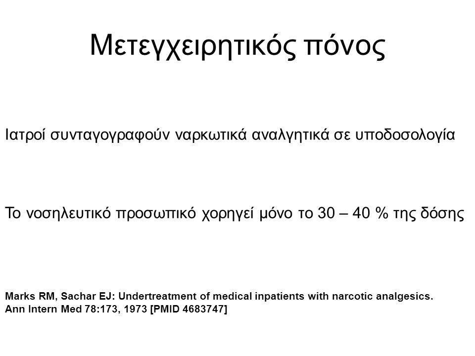 Μετεγχειρητικός πόνος Ιατροί συνταγογραφούν ναρκωτικά αναλγητικά σε υποδοσολογία Το νοσηλευτικό προσωπικό χορηγεί μόνο το 30 – 40 % της δόσης Marks RM, Sachar EJ: Undertreatment of medical inpatients with narcotic analgesics.