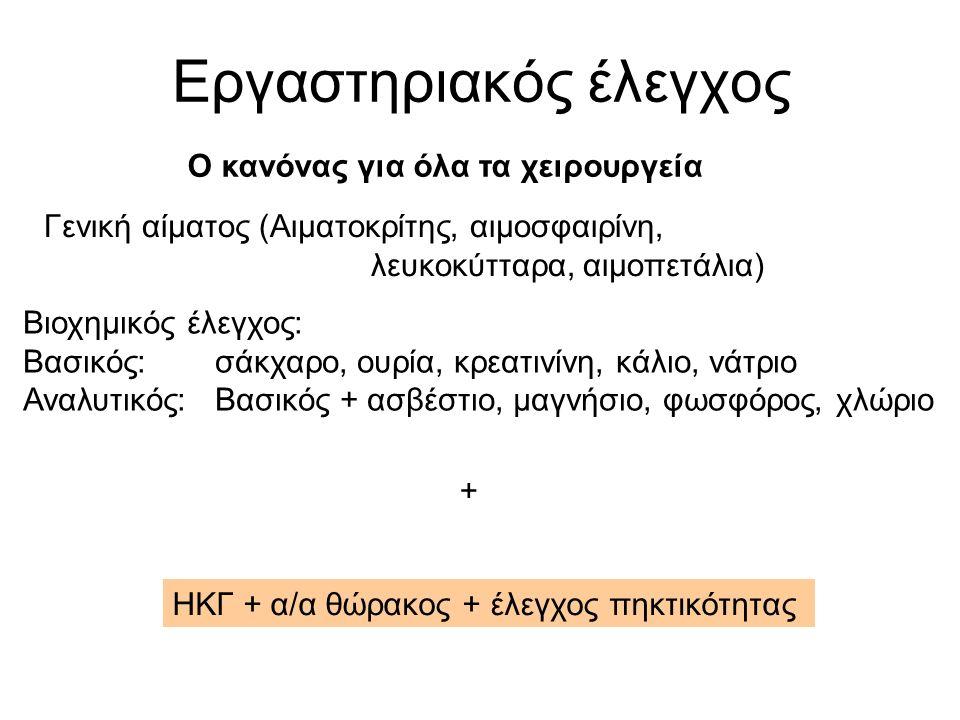 Εργαστηριακός έλεγχος Γενική αίματος (Αιματοκρίτης, αιμοσφαιρίνη, λευκοκύτταρα, αιμοπετάλια) Βιοχημικός έλεγχος: Βασικός: σάκχαρο, ουρία, κρεατινίνη, κάλιο, νάτριο Αναλυτικός:Βασικός + ασβέστιο, μαγνήσιο, φωσφόρος, χλώριο ΗΚΓ + α/α θώρακος + έλεγχος πηκτικότητας + Ο κανόνας για όλα τα χειρουργεία