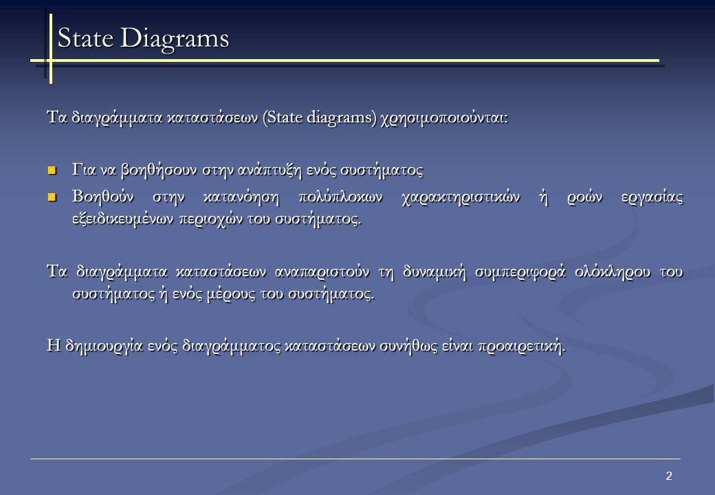 3 Τα διαγράμματα κατάστασης (state diagrams) χρησιμοποιούνται για να αναπαραστήσουν τη συμπεριφορά ενός συστήματος, ενός μέρος ενός συστήματος, μιας κλάσης ή μιας περίπτωσης χρήσης.