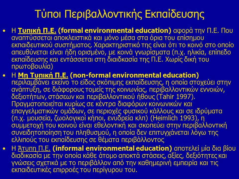 Tύποι Περιβαλλοντικής Εκπαίδευσης Η Τυπική Π.Ε. (formal environmental education) αφορά την Π.Ε.