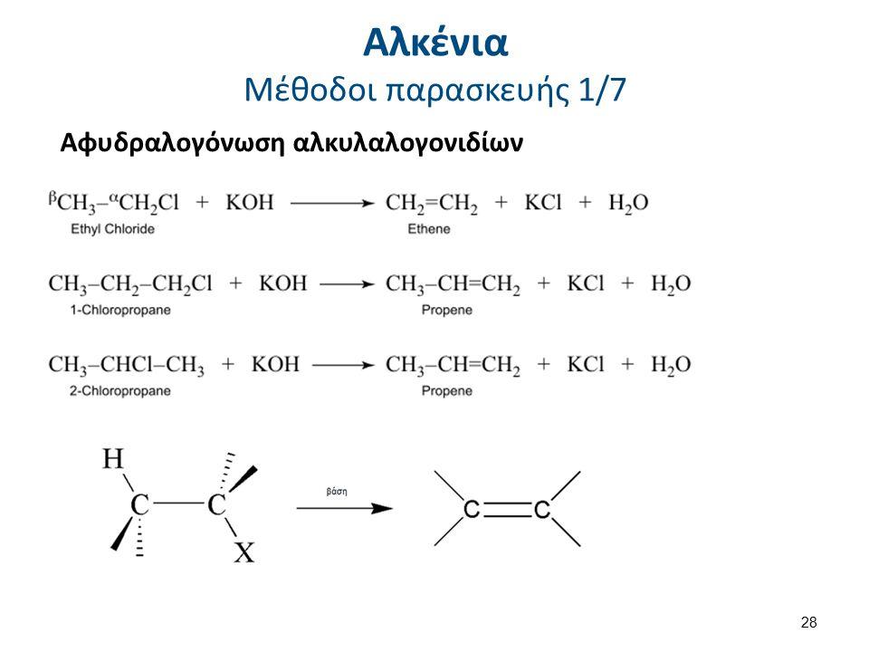 Αλκένια Μέθοδοι παρασκευής 1/7 Αφυδραλογόνωση αλκυλαλογονιδίων 28