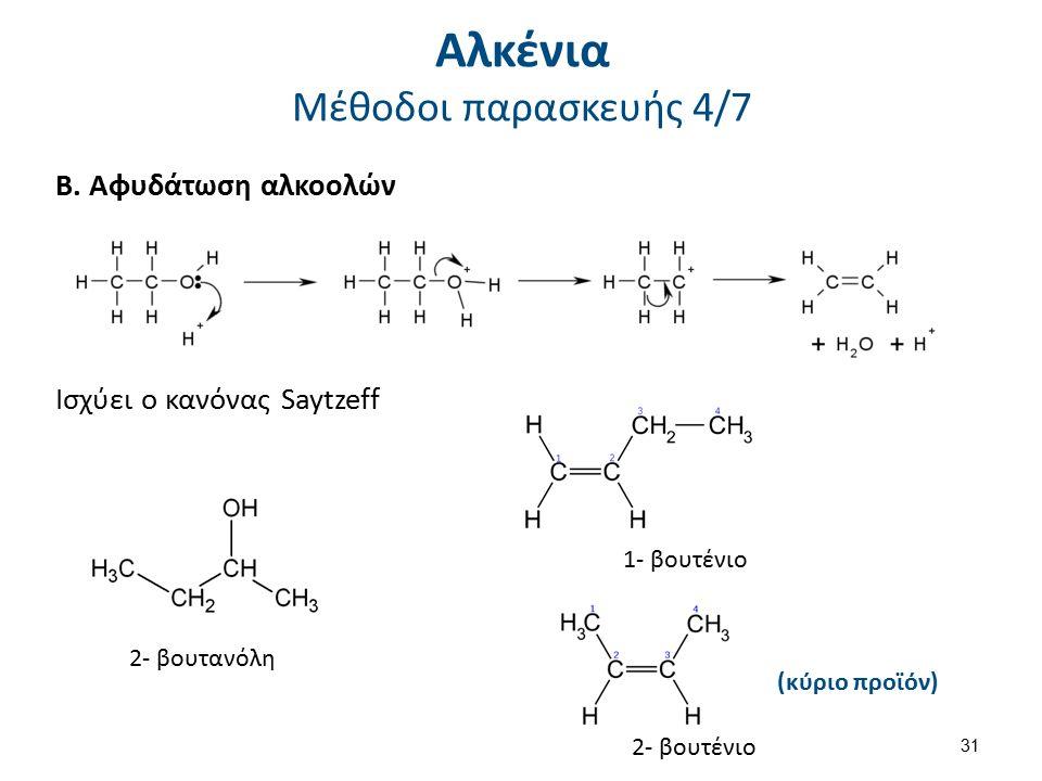 Β. Αφυδάτωση αλκοολών Ισχύει ο κανόνας Saytzeff 2- βουτανόλη 1- βουτένιο 2- βουτένιο (κύριο προϊόν) 31 Αλκένια Μέθοδοι παρασκευής 4/7