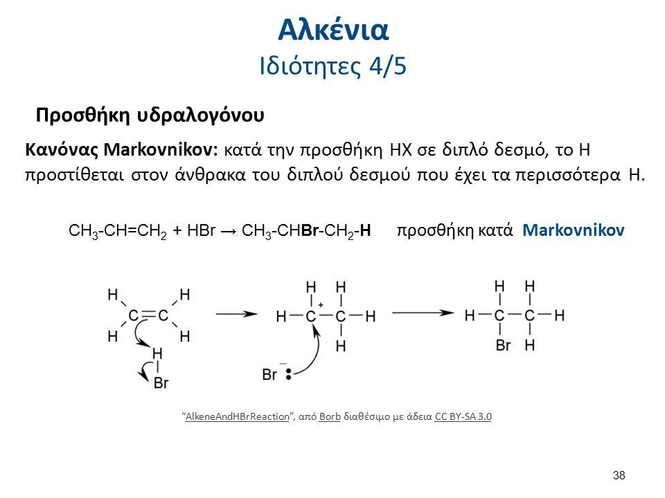 Προσθήκη υδραλογόνου CH 3 -CH=CH 2 + HBr → CH 3 -CHBr-CH 2 -H Kανόνας Markovnikov: κατά την προσθήκη ΗΧ σε διπλό δεσμό, το Η προστίθεται στον άνθρακα