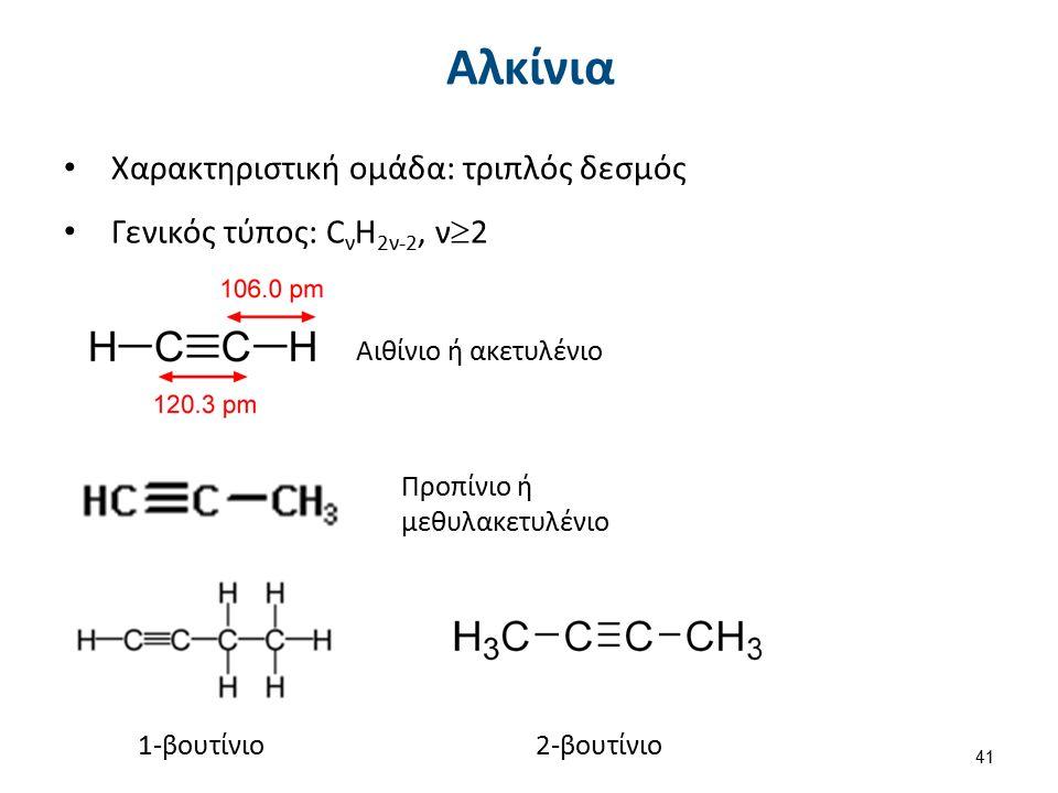 Χαρακτηριστική ομάδα: τριπλός δεσμός Γενικός τύπος: C ν H 2ν-2, ν  2 Αιθίνιο ή ακετυλένιο Προπίνιο ή μεθυλακετυλένιο 1-βουτίνιο2-βουτίνιο Αλκίνια 41