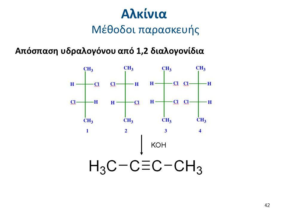 Αλκίνια Μέθοδοι παρασκευής Απόσπαση υδραλογόνου από 1,2 διαλογονίδια ΚΟΗ 42
