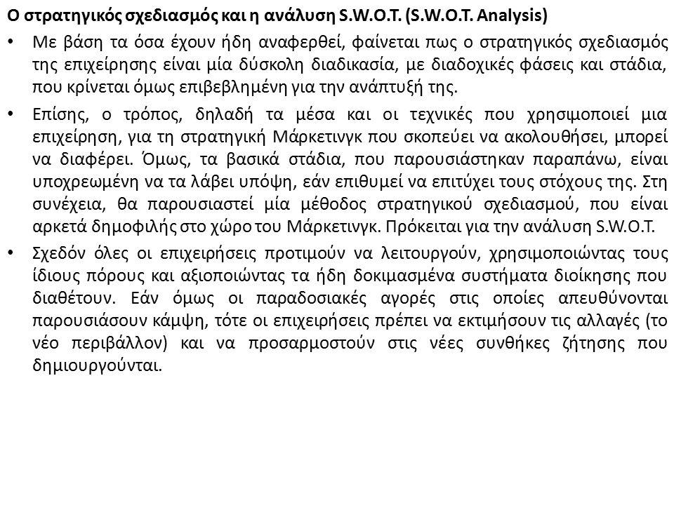Ο στρατηγικός σχεδιασμός και η ανάλυση S.W.O.T. (S.W.O.T.