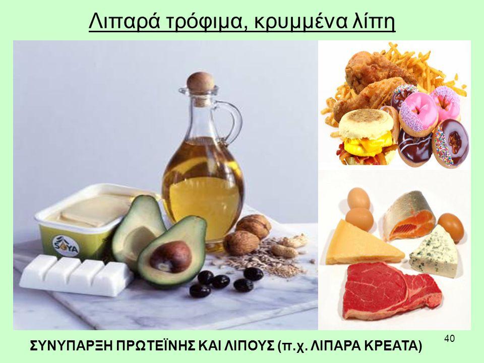 40 Λιπαρά τρόφιμα, κρυμμένα λίπη ΣΥΝΥΠΑΡΞΗ ΠΡΩΤΕΪΝΗΣ ΚΑΙ ΛΙΠΟΥΣ (π.χ. ΛΙΠΑΡΑ ΚΡΕΑΤΑ)
