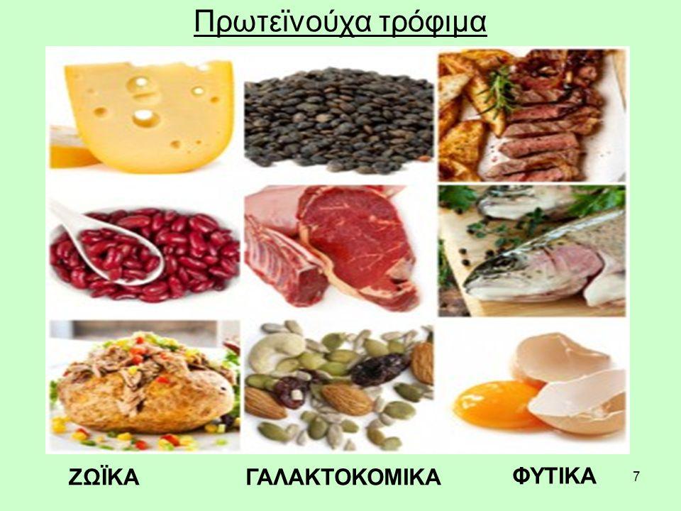 8 Πρωτεΐνες Ζωικές πρωτεΐνες: κρέας, κοτόπουλο, ψάρια, αυγά, τυρί, γάλα.