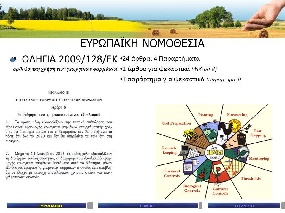ΕΥΡΩΠΑΪΚΗ ΝΟΜΟΘΕΣΙΑ ΟΔΗΓΙΑ 2009/128/ΕΚ ορθολογική χρήση των γεωργικών φαρμάκων 24 άρθρα, 4 Παραρτήματα 1 άρθρο για ψεκαστικά (άρθρο 8) 1 παράρτημα για ψεκαστικά (Παράρτημα ΙΙ) ΕΘΝΙΚΗΤΟ ΑΥΡΙΟΕΥΡΩΠΑΪΚΗ