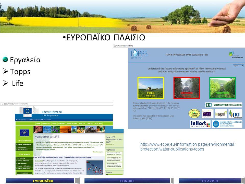 ΕΘΝΙΚΗΤΟ ΑΥΡΙΟΕΥΡΩΠΑΪΚΗ Εργαλεία  Τopps  Life ΕΥΡΩΠΑΪΚΟ ΠΛΑΙΣΙΟ http://www.ecpa.eu/information-page/environmental- protection/water-publications-top