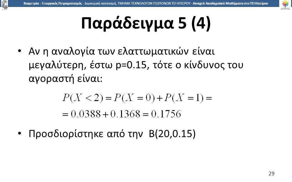 2929 Βιομετρία - Γεωργικός Πειραματισμός - Διωνυμική κατανομή, ΤΜΗΜΑ ΤΕΧΝΟΛΟΓΩΝ ΓΕΩΠΟΝΩΝ ΤΕΙ ΗΠΕΙΡΟΥ - Ανοιχτά Ακαδημαϊκά Μαθήματα στο ΤΕΙ Ηπείρου Παράδειγμα 5 (4) Αν η αναλογία των ελαττωματικών είναι μεγαλύτερη, έστω p=0.15, τότε ο κίνδυνος του αγοραστή είναι: Προσδιορίστηκε από την Β(20,0.15) 29