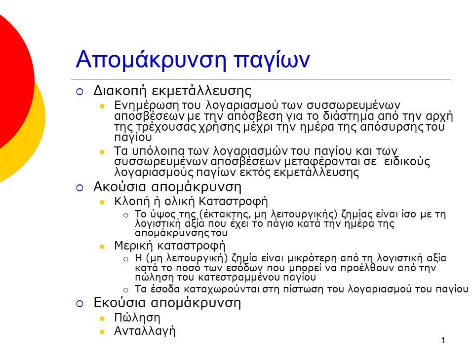 1 Απομάκρυνση παγίων  Διακοπή εκμετάλλευσης Ενημέρωση του λογαριασμού των συσσωρευμένων αποσβέσεων με την απόσβεση για το διάστημα από την αρχή της τ