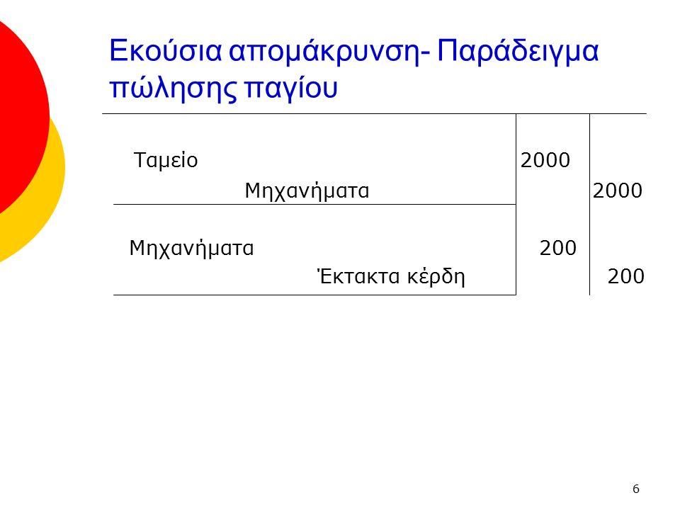 7 Αποτίμηση παγίου ενεργητικού  Τα πάγια στοιχεία του ενεργητικού αποτιμώνται κατά προτίμηση στο κόστος κτήσης τους (ιστορικό κόστος) μειωμένο με το ποσό των σωρευμένων αποσβέσεις  Εναλλακτικά τα πάγια στοιχεία του ενεργητικού αποτιμώνται στην αναπροσαρμοσμένη αξία τους (τρέχουσα αξία) μειωμένη με το ποσό των σωρευμένων αποσβέσεων  Αναπροσαρμογές πρέπει να γίνονται αρκετά τακτικά