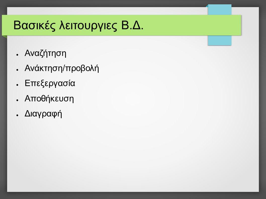 Δημιουργία πίνακα CREATE TABLE Μαθητής ( Επώνυμο VARCHAR(50), Όνομα VARCHAR (50), Πατρώνυμο VARCHAR (50), Ημερομηνία_Γέννησης DATE, Φύλο CHAR(1), PRIMARY KEY (Επώνυμο) )