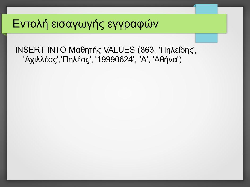 Εντολή εισαγωγής εγγραφών INSERT INTO Μαθητής VALUES (863, 'Πηλείδης', 'Αχιλλέας','Πηλέας', '19990624', 'Α', 'Αθήνα')