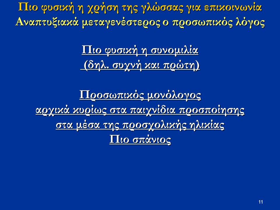 11 Πιο φυσική η χρήση της γλώσσας για επικοινωνία Αναπτυξιακά μεταγενέστερος ο προσωπικός λόγος Πιο φυσική η συνομιλία (δηλ.