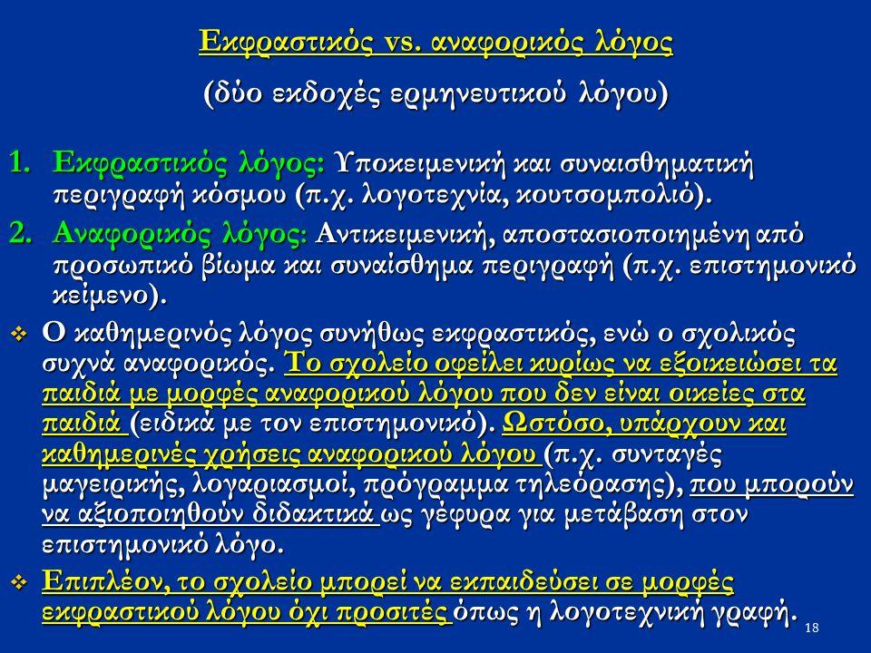 18 Εκφραστικός vs. αναφορικός λόγος (δύο εκδοχές ερμηνευτικού λόγου) 1.Εκφραστικός λόγος: Υποκειμενική και συναισθηματική περιγραφή κόσμου (π.χ. λογοτ