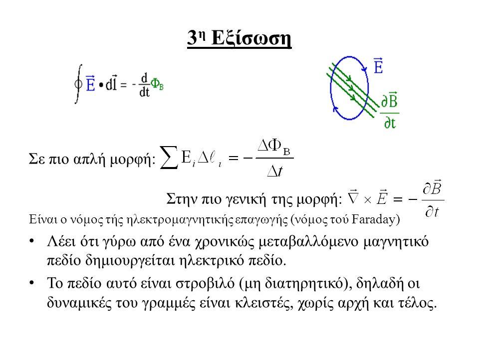 3 η Εξίσωση Σε πιο απλή μορφή: Στην πιο γενική της μορφή: Είναι ο νόμος τής ηλεκτρομαγνητικής επαγωγής (νόμος τού Faraday) Λέει ότι γύρω από ένα χρονικώς μεταβαλλόμενο μαγνητικό πεδίο δημιουργείται ηλεκτρικό πεδίο.