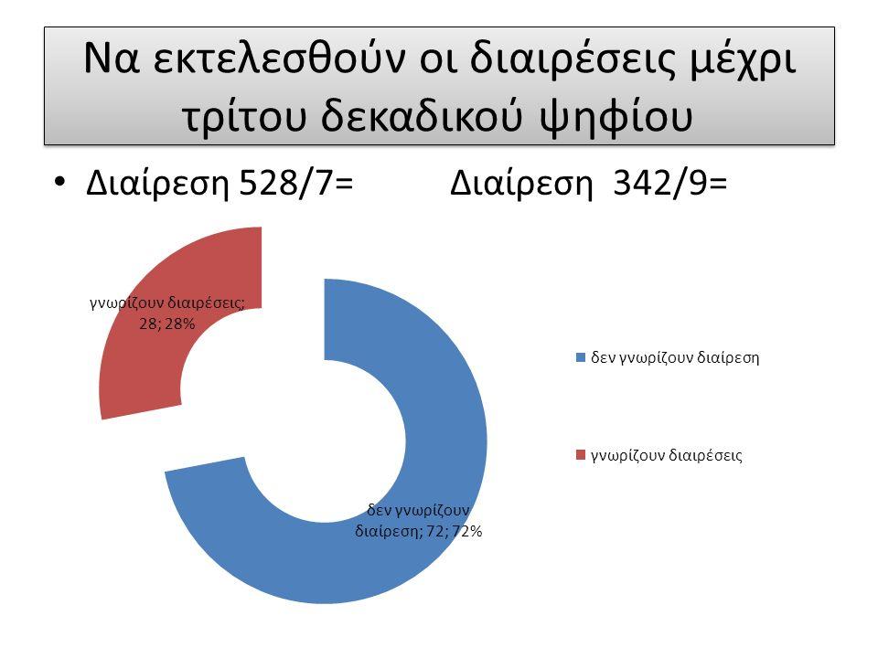 Να εκτελεσθούν οι διαιρέσεις μέχρι τρίτου δεκαδικού ψηφίου Διαίρεση 528/7= Διαίρεση 342/9=
