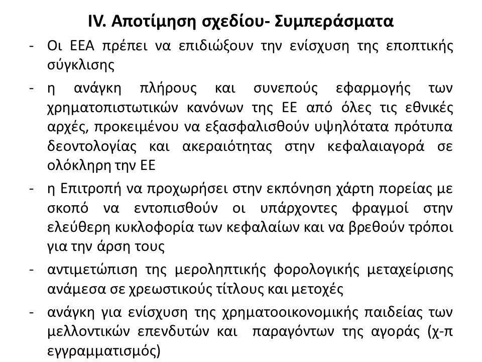 IV. Αποτίμηση σχεδίου- Συμπεράσματα -Οι ΕΕΑ πρέπει να επιδιώξουν την ενίσχυση της εποπτικής σύγκλισης -η ανάγκη πλήρους και συνεπούς εφαρμογής των χρη