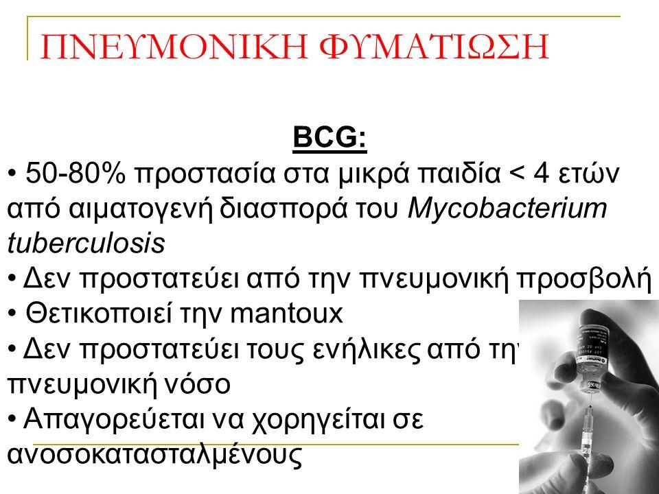 ΠΝΕΥΜΟΝΙΚΗ ΦΥΜΑΤΙΩΣΗ BCG: 50-80% προστασία στα μικρά παιδία < 4 ετών από αιματογενή διασπορά του Mycobacterium tuberculosis Δεν προστατεύει από την πνευμονική προσβολή Θετικοποιεί την mantoux Δεν προστατεύει τους ενήλικες από την πνευμονική νόσο Απαγορεύεται να χορηγείται σε ανοσοκατασταλμένους
