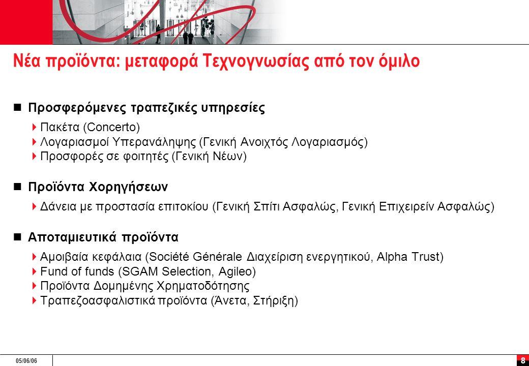 05/06/06 8 Νέα προϊόντα: μεταφορά Τεχνογνωσίας από τον όμιλο Προσφερόμενες τραπεζικές υπηρεσίες  Πακέτα (Concerto)  Λογαριασμοί Υπερανάληψης (Γενική
