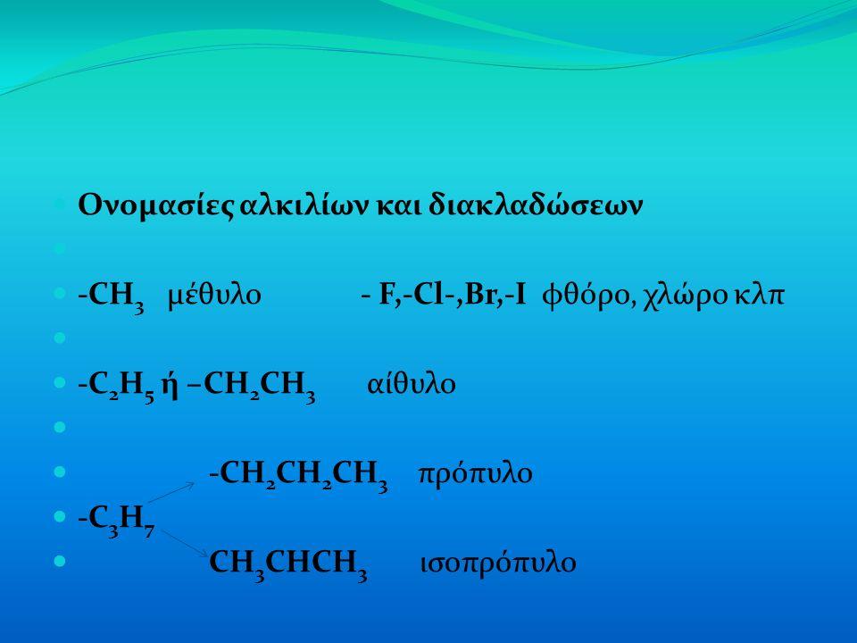 Ονομασίες αλκιλίων και διακλαδώσεων -CH 3 μέθυλο - F,-Cl-,Br,-I φθόρο, χλώρο κλπ -C 2 H 5 ή –CH 2 CH 3 αίθυλο -CH 2 CH 2 CH 3 πρόπυλο -C 3 H 7 CH 3 CHCH 3 ισοπρόπυλο