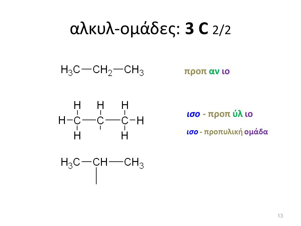 αλκυλ-ομάδες: 3 C 2/2 προπ αν ιο ισο - προπυλική ομάδα ισο - προπ ύλ ιο 13