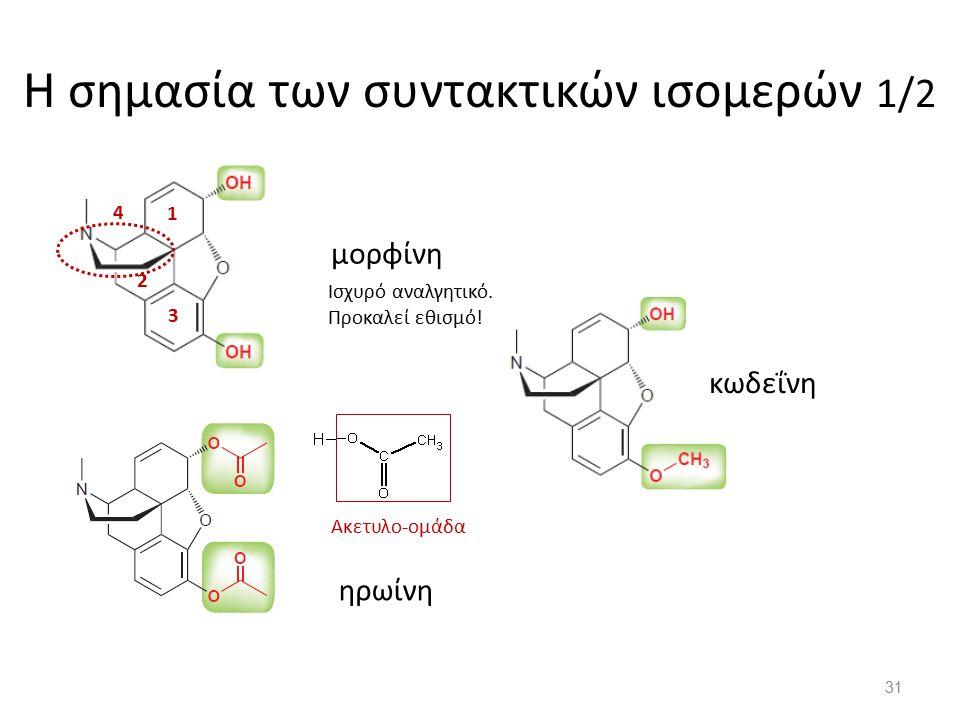Η σημασία των συντακτικών ισομερών 1/2 μορφίνη ηρωίνη κωδεΐνη 1 2 3 4 Ακετυλο-ομάδα Ισχυρό αναλγητικό.