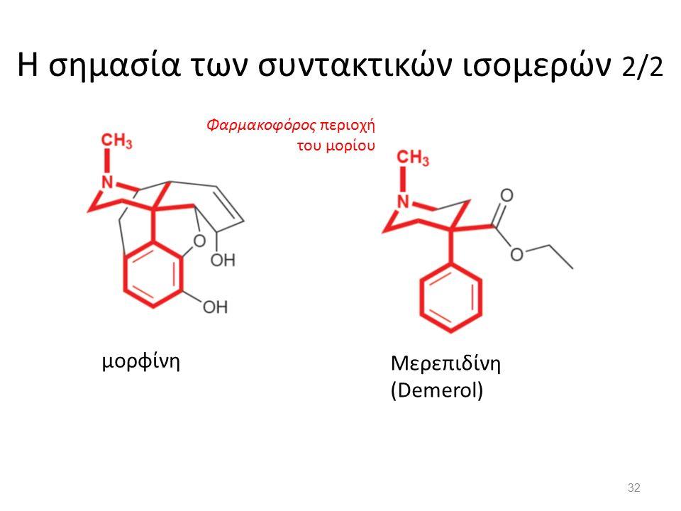 Η σημασία των συντακτικών ισομερών 2/2 μορφίνη 1 2 3 4 Μερεπιδίνη (Demerol) Φαρμακοφόρος περιοχή του μορίου 32