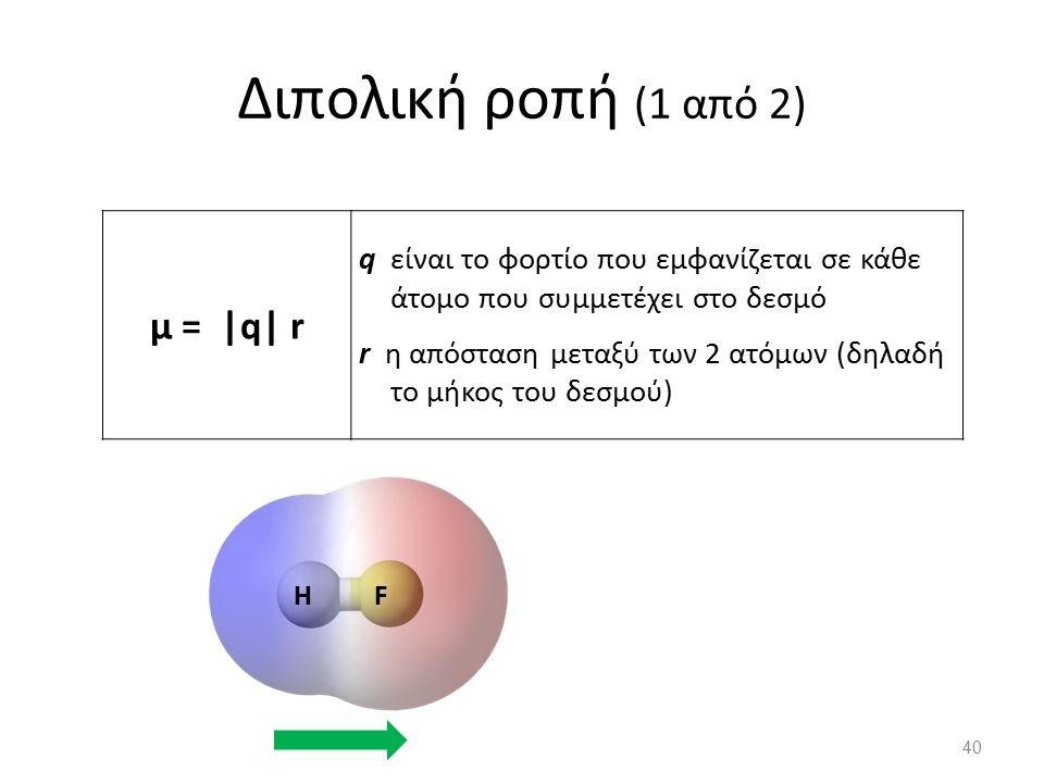 Διπολική ροπή (1 από 2) μ = |q| r q είναι το φορτίο που εμφανίζεται σε κάθε άτομο που συμμετέχει στο δεσμό r η απόσταση μεταξύ των 2 ατόμων (δηλαδή το μήκος του δεσμού) 40 HF