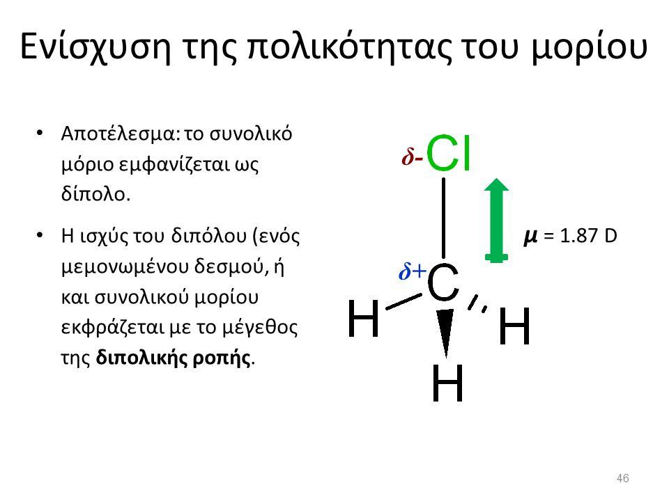 Ενίσχυση της πολικότητας του μορίου Αποτέλεσμα: το συνολικό μόριο εμφανίζεται ως δίπολο.