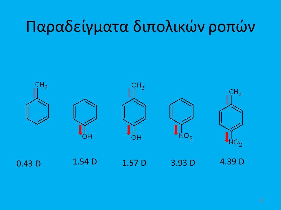 Παραδείγματα διπολικών ροπών 0.43 D 1.54 D 1.57 D3.93 D 4.39 D 47