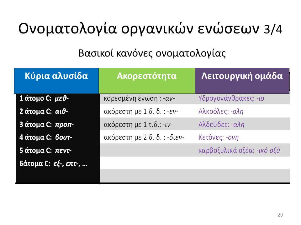 Ονοματολογία οργανικών ενώσεων 3/4 Βασικοί κανόνες ονοματολογίας Κύρια αλυσίδαΑκορεστότηταΛειτουργική ομάδα 20