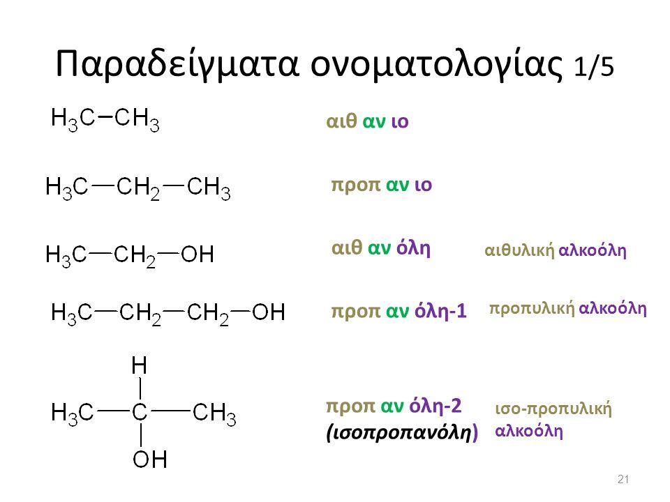Παραδείγματα ονοματολογίας 1/5 αιθ αν ιο προπ αν ιο αιθ αν όλη προπ αν όλη-1 προπ αν όλη-2 (ισοπροπανόλη) αιθυλική αλκοόλη προπυλική αλκοόλη ισο-προπυλική αλκοόλη 21